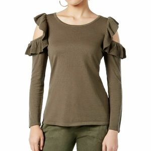 Green Cold Shoulder Long Sleeve Casual Sweater